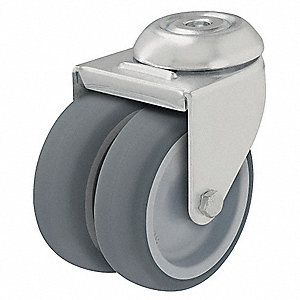 "2"" Bolt Hole Caster with 176 lb. Load Rating and Plain Caster Wheel Bearings"