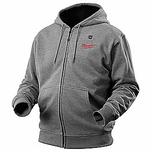 Men's Gray Heated Hoodie, Size: 2XL, Battery Included:  No