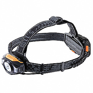 LED Industrial Headlamp, Polymer, Maximum Lumens Output: 338, Black