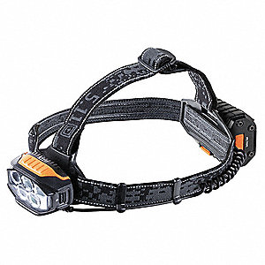 LED Industrial Headlamp, Polymer, Maximum Lumens Output: 470, Black