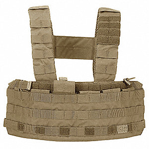 "Tactec Chest Rig, 500D Nylon, Sandstone, Width: 21-1/2"", Size: Universal"