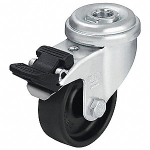 "3"" Bolt Hole Caster with 165 lb. Load Rating and Plain Caster Wheel Bearings"