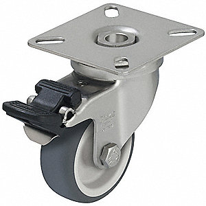 "3"" Light-Duty Swivel Plate Caster, 165 lb. Load Rating"