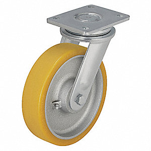 "6-1/4"" Medium-Duty Swivel Plate Caster, 1760 lb. Load Rating"
