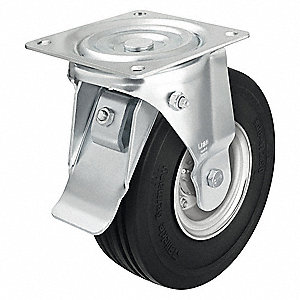 "9-7/8"" Light-Medium Duty Ribbed Tread Swivel Solid Rubber Caster, 1000 lb. Load Rating"
