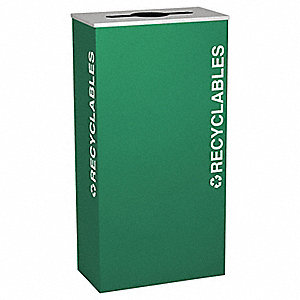 17 gal. Green Stationary Recycling Container, Open Top