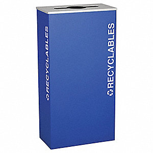 17 gal. Blue Stationary Recycling Container, Open Top