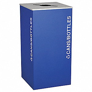 36 gal. Blue Stationary Recycling Container, Open Top