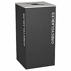 36 gal. Black Stationary Recycling Container, Open Top