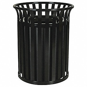 "35 gal. Round Funnel Trash Can, 33""H, Black"