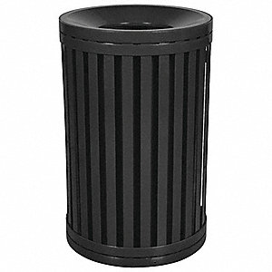"45 gal. Round Open Top Trash Can, 38""H, Black"