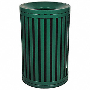 "45 gal. Round Open Top Decorative Trash Can, 37""H, Green"