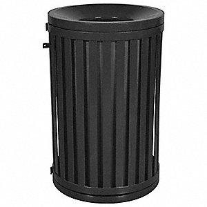 Trash Can,45 gal.,Black,Steel