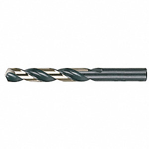 Jobber Drill Bit, #34, High Speed Steel, Black/Gold, List Number 1878