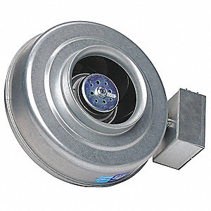 "Galvanized Steel Centrifugal Inline Duct Fan, Fits Duct Dia. 8"", Voltage 120V"