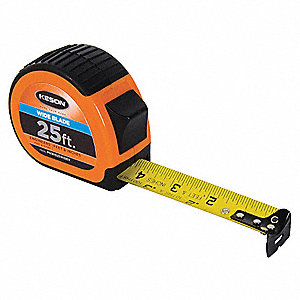 25 ft. Steel SAE Engineers Tape Measure, Black/Chrome/Orange