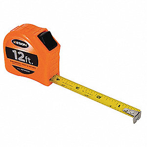 12 ft. Steel SAE Engineers Tape Measure, Orange