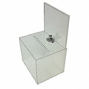 Collection Box,Clear,12-1/2x5-3/4x6-3/8