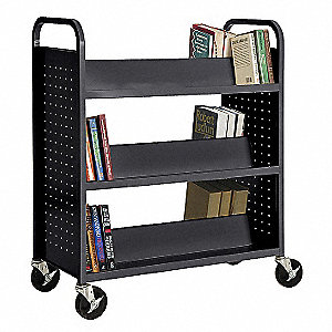 Steel Book Truck with 3 Double Sided Sloped Shelves, Black