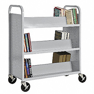 Book Truck,Double Sided,Gray