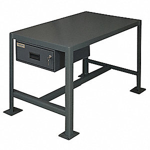 "Fixed Work Table,Steel,24"" W,18"" D"