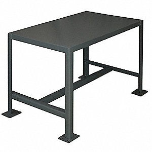"Fixed Height Work Table, Steel, 24"" Depth, 30"" Height, 36"" Width,2000 lb. Load Capacity"