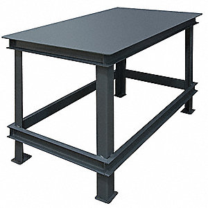 "Fixed Height Work Table, Steel, 36"" Depth, 34"" Height, 72"" Width,14,000 lb. Load Capacity"