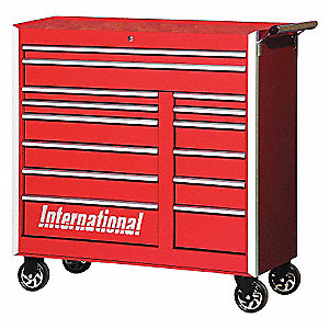 PRO 42IN 14 DRAWER CABINET RED
