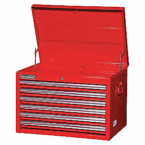 27IN 6 DRAWER DEEP CHEST RED