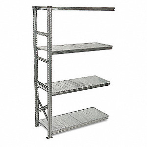 "36"" x 20"" x 78"" 24 ga. Steel Boltless Shelving Add-On Unit, Gray&#x3b; Number of Shelves: 4"