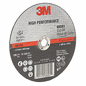 "4"" Type 1 Ceramic Abrasive Cut-Off Wheel, 3/8"" Arbor, 0.035""-Thick, 19,100 Max. RPM"