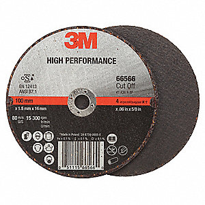 "4"" High Performance Abrasive Cut-Off Wheel, 0.035"" Thickness, 5/8"" Arbor Hole"