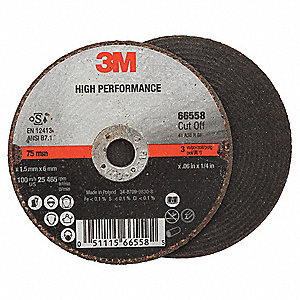 "3"" High Performance Abrasive Cut-Off Wheel, 0.035"" Thickness, 1/4"" Arbor Hole"