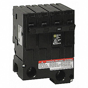 Plug In Circuit Breaker, HOM, Number of Poles 2, 200 Amps, 120/240VAC, Standard