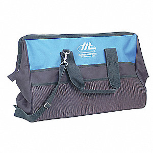 Synthetic Tool Bag, General Purpose, Number of Pockets: 18, Black, Blue