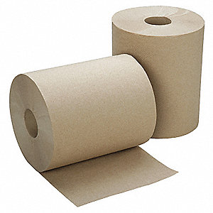 600 ft. 1-Ply Paper Towel Roll, Brown&#x3b; PK12