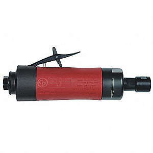 "Rear Exhaust Straight Air Die Grinder, 1/4"" Collet, 15,000 rpm Free Speed, 0.7 HP"