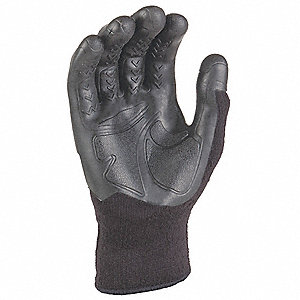 Coated Glove, Knit Cuff, Gray, L/XL, PR 1