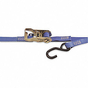 "Tie Down Strap, 15 ft.L x 1""W, 400 lb. Load Limit, Adjustment: Ratchet"