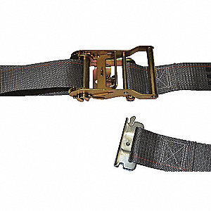 Tie Down Strap, 16 ftL x 2 inW, 1,000 lb Load Limit, Adjustment: Ratchet