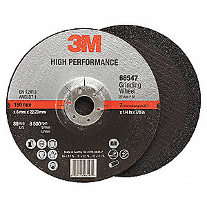"7"" Type 27 Ceramic Depressed Center Wheels, 7/8"" Arbor, 1/4""-Thick, 8500 Max. RPM"