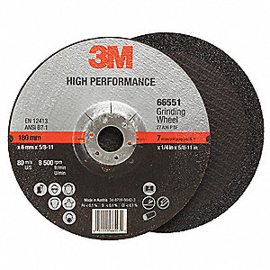 "Type 27 Ceramic Depressed Center Wheels,  7"",  5/8""-11 Arbor Hole Size,  1/4"" Thickness"