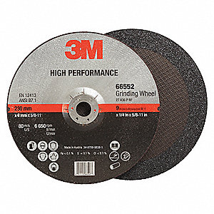 "9"" Type 27 Ceramic Depressed Center Wheels, 5/8""-11 Arbor, 1/4""-Thick, 6650 Max. RPM"