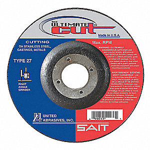 "4-1/2"" x 0.045"" Depressed Center Wheel, Aluminum Oxide, 7/8"" Arbor Size, Type 27, The Ultimate Cut"