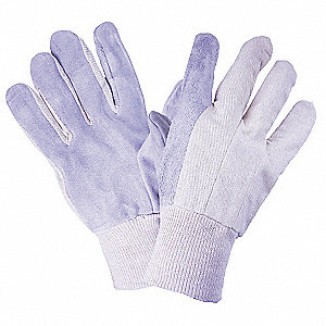 GLOVES SPLIT LTHR CANVAS KW LADIES