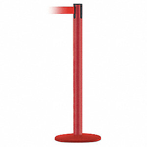 Barrier Post with Belt,13 ft. L,Red