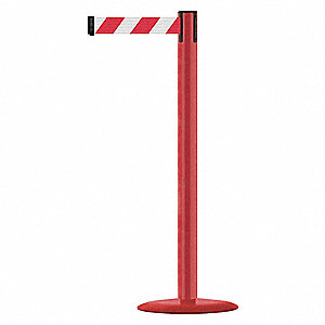 Barrier Post with Belt,Red/White Chevron