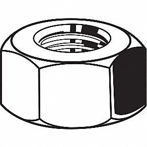 "1/2""-20 Hex Nut, Zinc Plated Finish, Grade 5 Steel, Right Hand, ASME B18.2.2, PK50"