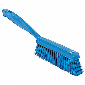 "14""L Polyester Short Handle Bench Brush, Blue"