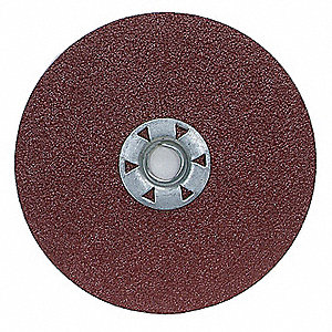 "7"" Coated Fiber Disc, 5/8"" Mounting Hole Size, Medium, 100 Grit Aluminum Oxide, 10 PK"